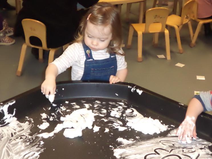 Emergent writing in shaving foam