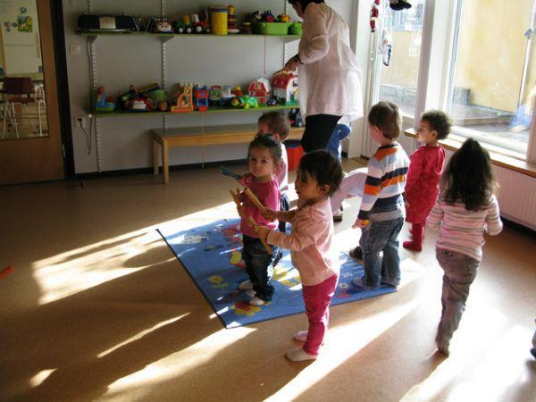Bjorken pre-school children enjoying rhythmics