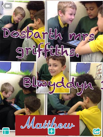 Matthew gyda dosbarth Blwyddyn 1 Mrs Griffiths.