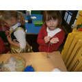 Practicing our fine motor skills making jewellery