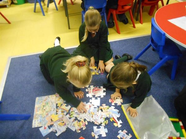Working together to create a giant puzzle