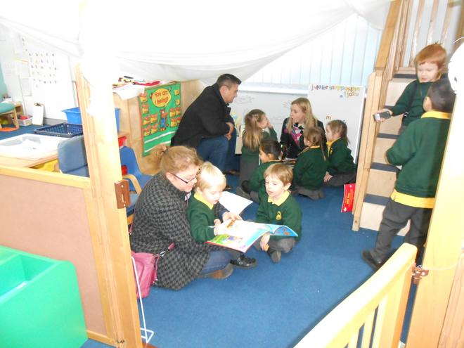 reading a story in the story cave