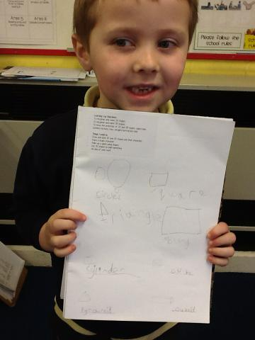 Writing about shapes.