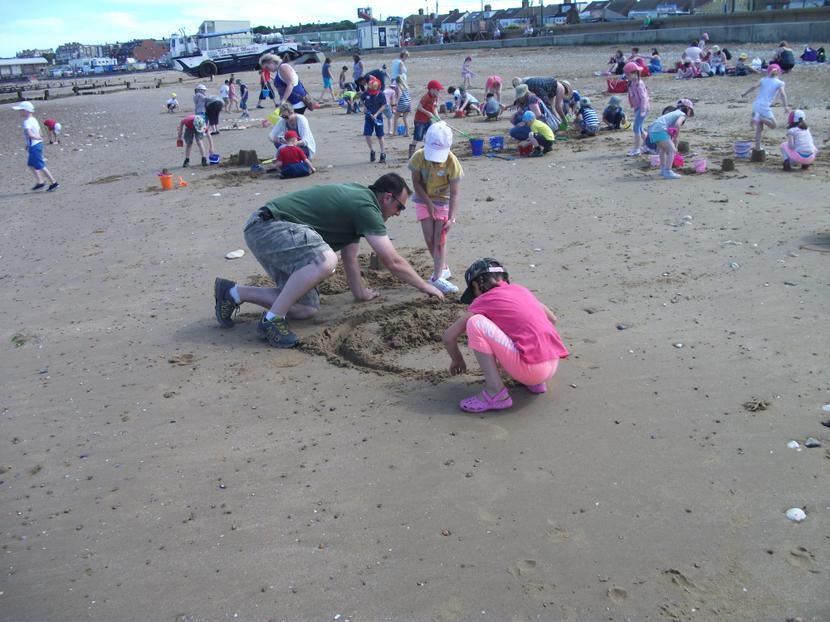 First we built sand castles.
