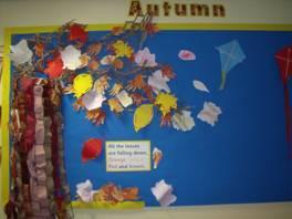 We made autumn coloured leaves