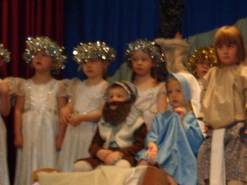 Mary, Joseph, the Innkeeper and angels