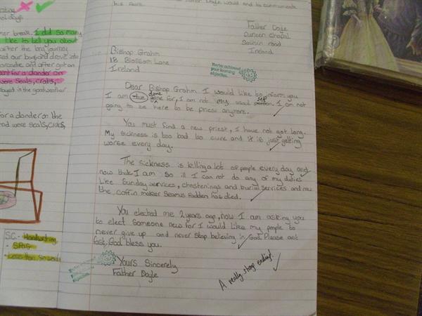 Literacy - cross-curricular (Famine Letter)
