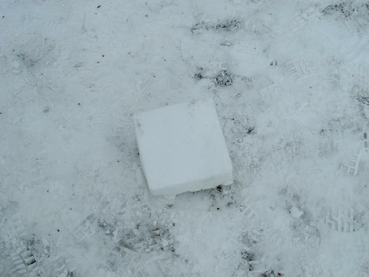 Making a snow brick.