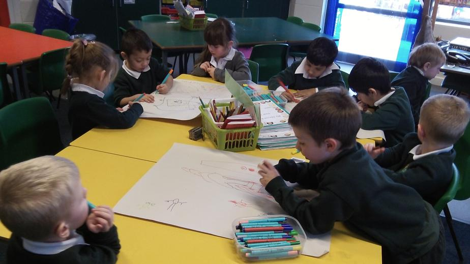 We worked in groups to draw characters.