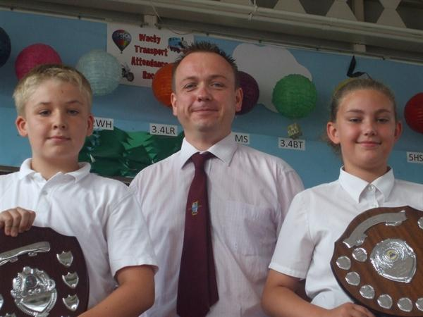 Award winners with Mr Hulls.