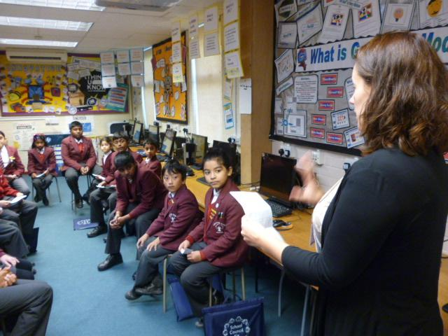 School council meet with the school caterers