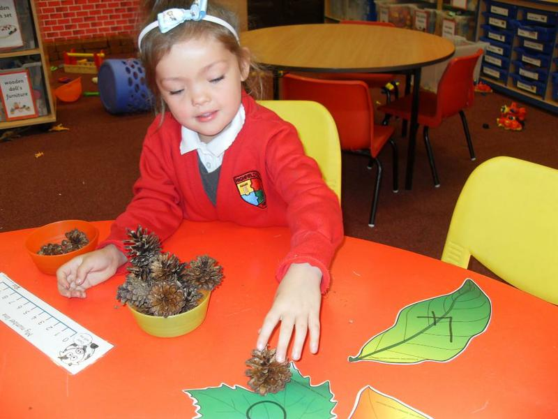Counting and matching autumn objects to numerals