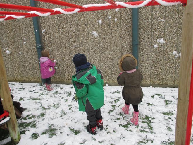 Throwing snowballs at the wall
