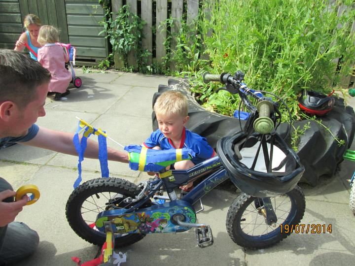 Morning nursery 'bling' their bikes.