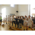 The children taking part in the fitness circuit