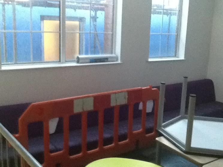 New seating in the new library area.