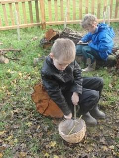 Whittling a stick safely, using a potato peeler
