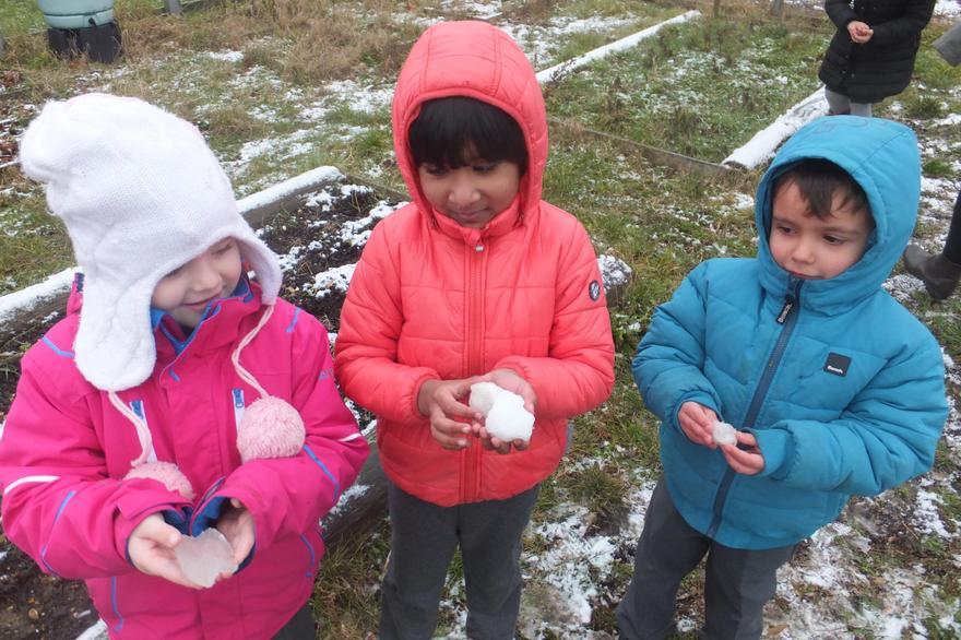 Arctic topic: Making snowballs and small snowmen