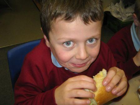 Trying out the sandwiches we have made Year 3