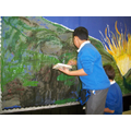 Painting the backdrop for the KS1 nativity