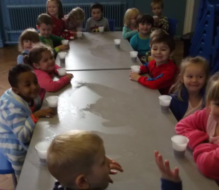 We drank hot chocolate!