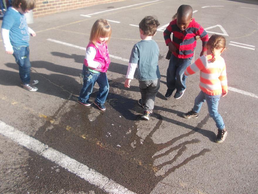 Splashing in puddles.