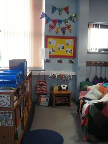 Look at our cosy book corner.