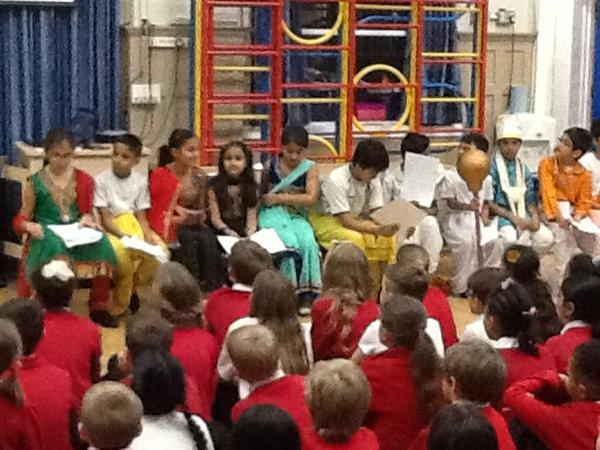 Our children tell the Diwali story in assembly