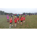 Year 5 girls going to start line