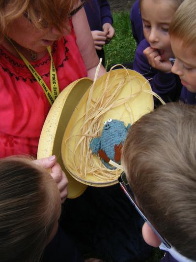 Mrs Taylor found an egg with a Bog Baby in
