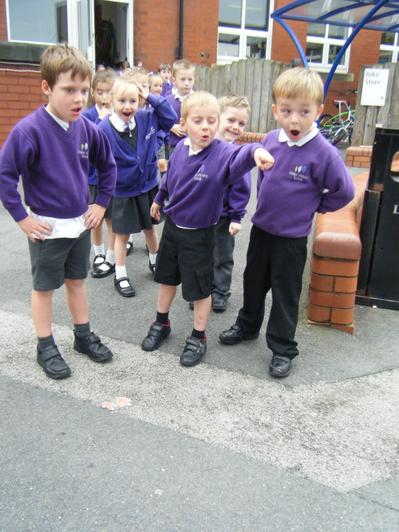 Looking for clues - we saw footprints