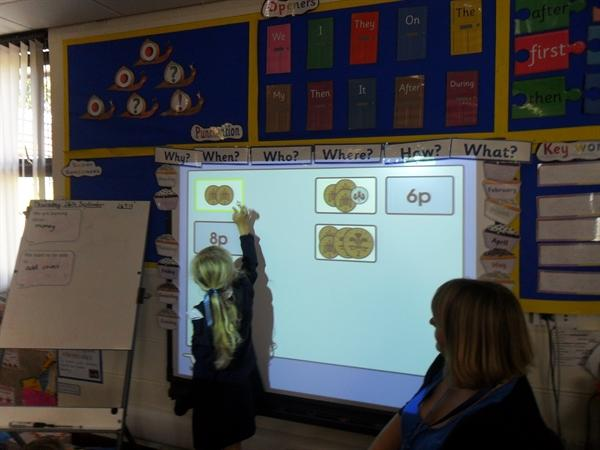 We enjoyed learning about money on the whiteboard