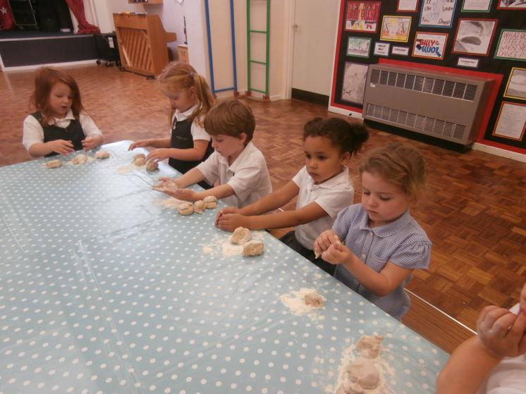 Making the bread for the Harvest Festival.