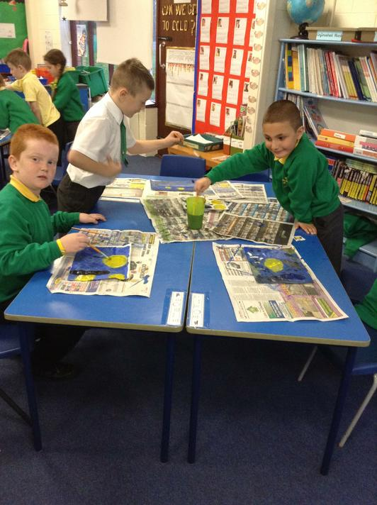 Creating our section of our class Starry Night collage