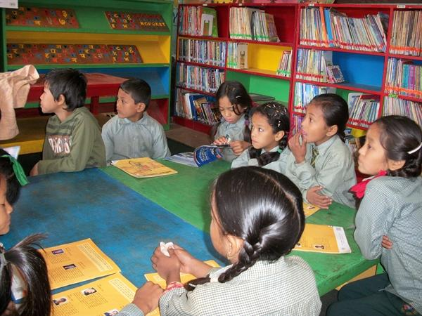 The children enjoy library lessons