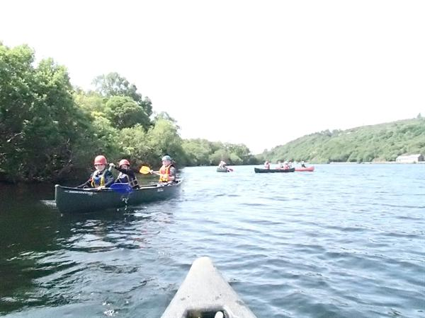 Canoeing and getting wet at the base of Snowdon!