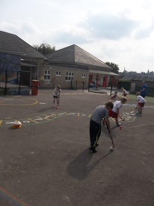 Practising our Hockey skills