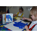 Painting Eric Carle's blue horse.