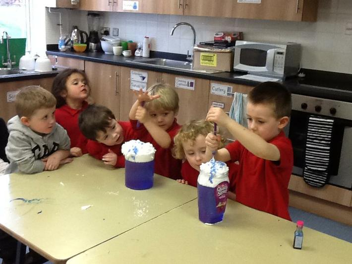 We have been learning about water, like the rain.