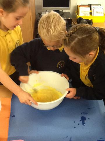 Mixing the sugar and butter