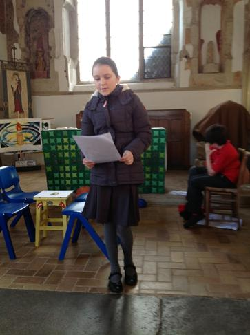 Lauren read brilliantly to start off the assembly