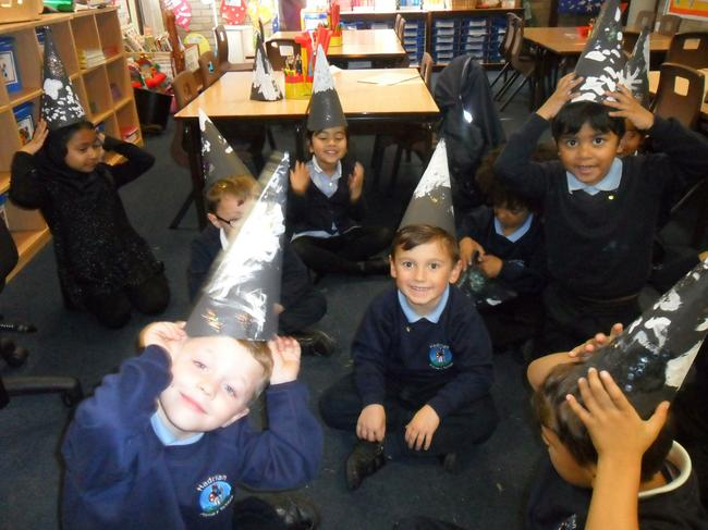 We made witches and wizards hats.