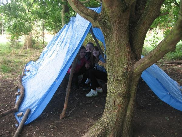 Year 5/6 building shelters at Grafham