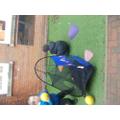 Practising our throwing skills using aim
