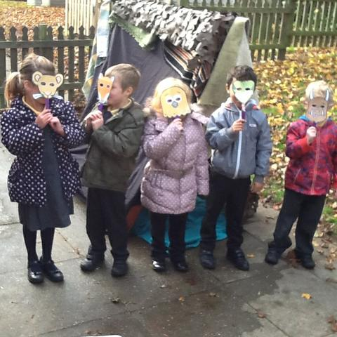 Acting out the story using the natural environme