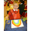 Ryan painted a super rainbow.