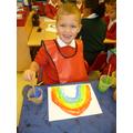 Ryan painted a super rainbow.