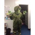 A dinosaur arrives at school!