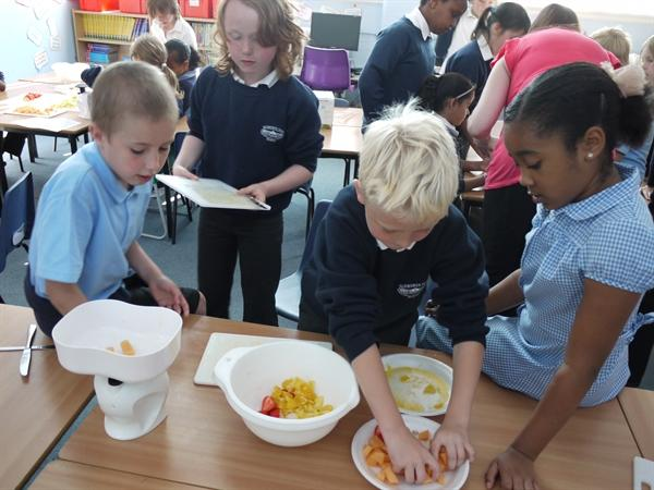 Team Work to make Fruit Salad