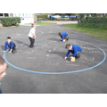 We wrote our sums with chalk on the floor.